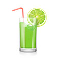 lime juice in drinking glass citrus coctail vector image