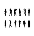 many black silhouettes vector image