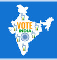 map of india with voting hand design vector image vector image