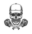 measuring tapes and mustached skull vector image