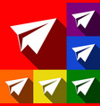 paper airplane sign set of icons with vector image vector image