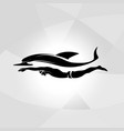professional swimmer dolphin logo ocean sea vector image vector image