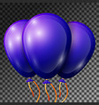realistic blue-purple balloons with ribbons vector image vector image