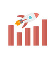 rocket graph up icon flat style vector image vector image