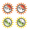 safe and dangerous sun hours icon set vector image