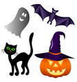 set of elements for halloween isolated on white vector image