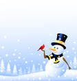 snowman and Christmas bird vector image vector image