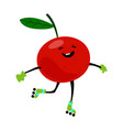 sport chery on rollers character funny fruit food vector image vector image