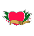 tatto heart with ribbon vector image vector image