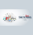 travel to spain time to travel banner with vector image vector image