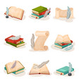 vintage quill pen books and paper scrolls vector image