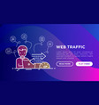 web analyst monitors web traffic speed vector image