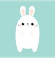white rabbit bunny cute kawaii cartoon character vector image vector image