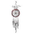 with hand drawn dream catcher vector image vector image