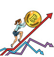 woman businesswoman roll a bitcoin coin up vector image vector image