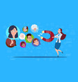 woman hold magnet mix race chat bubbles support vector image vector image