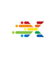 x colorful letter speed pixel logo icon design vector image
