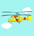 yellow helicopter flying in the sky vector image