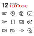 12 cinema icons vector image vector image