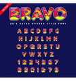 80s - 90s Style Alphabet Colorful Bright Font Set vector image