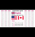 american calendar standard us english language vector image