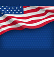 american striped flag on starry blue background vector image vector image