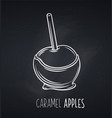 apple in caramel icon blackboard vector image vector image