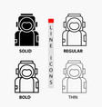 astronaut space spaceman helmet suit icon in thin vector image