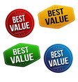 best value sticker or label set vector image vector image