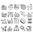 black line set of flat icons and elements vector image vector image