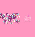 breast cancer awareness diverse world map people vector image vector image