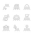 business team line icons on white background vector image vector image
