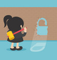 business woman break the wall concept flat vector image
