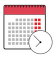 calendar clock icon flat design isolated schedule vector image vector image