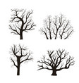cartoon silhouette black tree icon set vector image