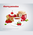 cherry pancakes vector image