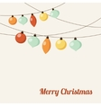 Christmas greeting card with garland christmas vector image vector image