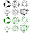 different design of recycle symbols vector image vector image