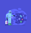 disinfection worker in costume sprays chemicals vector image