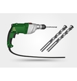 electric drill and drill bit vector image