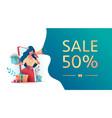 girl holds gifts sale discount speak in megaphone vector image
