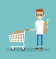 grocery shopping concept young customer standing vector image vector image
