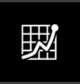growing graph icon on black background black flat vector image vector image