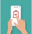 Hand holding smart phone with buy button vector image vector image