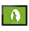 happy easter with egg shadow with bunny on tablet vector image vector image