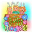 happy easter wooden banner with paper flowers and vector image vector image