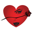 heart with portrait and rose vector image vector image