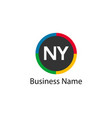 initial letter ny logo template design vector image