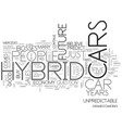 is the future of hybrid cars unpredictable text vector image vector image