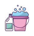 laundry bucket with detergent bottle vector image